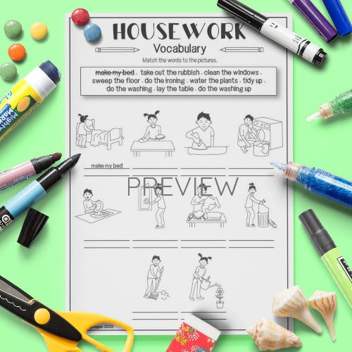 ESL English Housework Vocabulary Activity Worksheet
