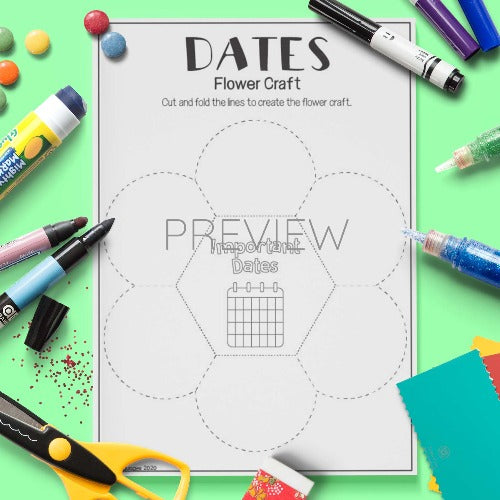 ESL English Dates Flower Craft Activity Worksheet