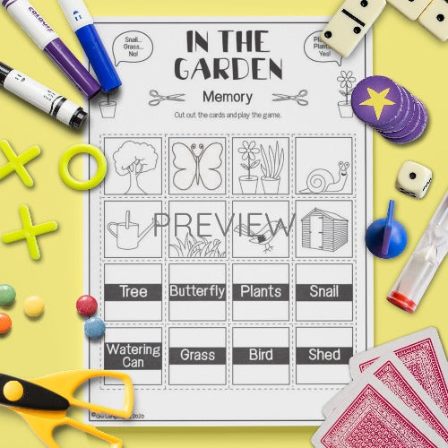 ESL English In The Garden Memory Game Activity Worksheet