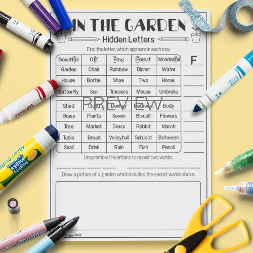 ESL English Kids In The Garden Hidden Letters Activity Worksheet