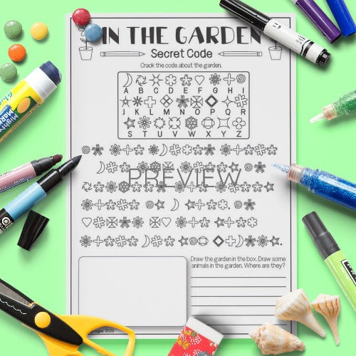 ESL English Kids In My Garden Secret Code Activity Worksheet