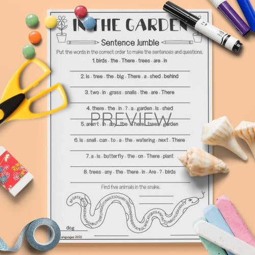 ESL English Kids In My Garden Sentence Jumble Activity Worksheet
