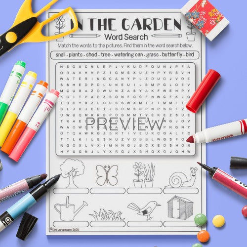 ESL English Kids In My Garden Word Search Activity Worksheet