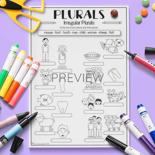 ESL English Kids Irregular Plurals Practice Worksheet