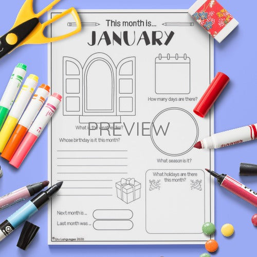 ESL English The Month Of January Activity Worksheet