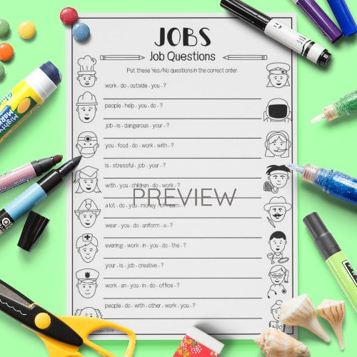 ESL English Kids Jobs Questions Worksheet