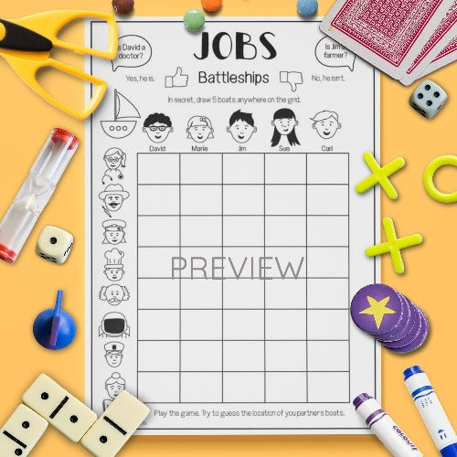 ESL English Kids Jobs Battleships Game Worksheet