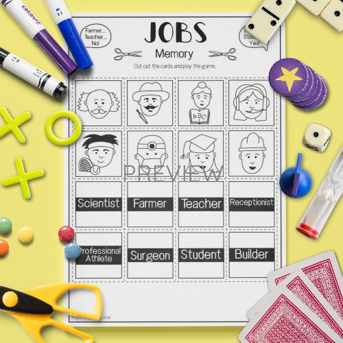ESL English Kids Jobs Memory Game Worksheet