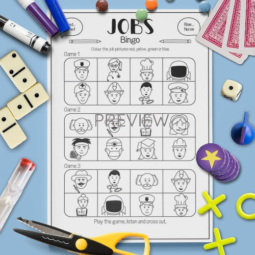ESL English Kids Jobs Bingo Game Worksheet