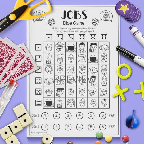 ESL English Kids Jobs Dice Game Worksheet