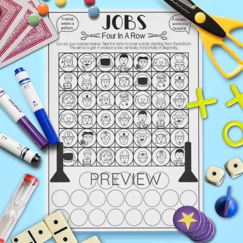 ESL English Kids Jobs Four In A Row Game Worksheet