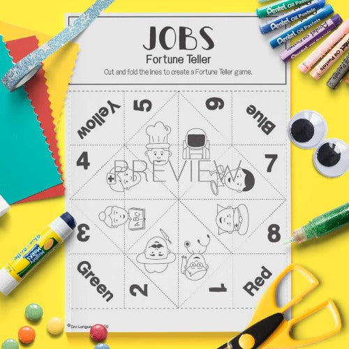 ESL English Job Fortune Teller Craft Activity Worksheet