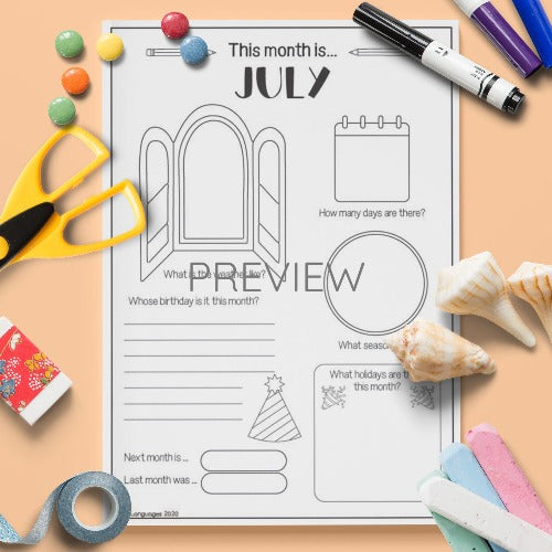 ESL English The Month Of July Activity Worksheet