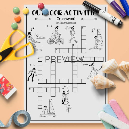 ESL English Kids Outdoor Activities Crossword Activity Worksheet