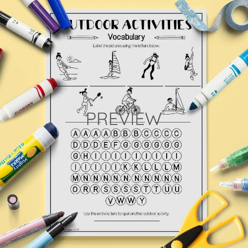 ESL English Kids Outdoor Activities Vocabulary Activity Worksheet