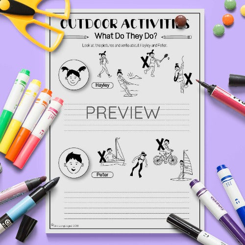 ESL English Kids Outdoor Activities What Do They Do Activity Worksheet