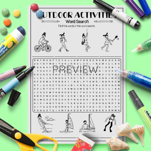 ESL English Kids Outdoor Activities Word Search Activity Worksheet