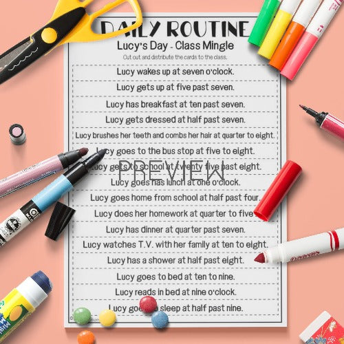 English ESL Kids Lucy's Day Class Mingle Daily Routine Game Activity Worksheet