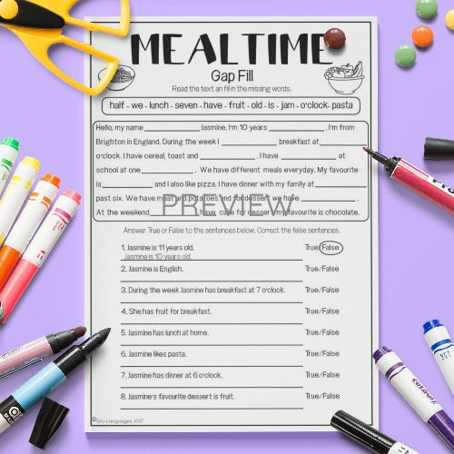 ESL English Kids Mealtime Gap Fill Worksheet