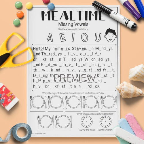 ESL English Kids Mealtime Missing Vowels Worksheet
