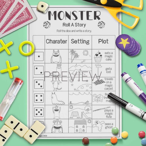 ESL English Monster Roll A Story Game Worksheet