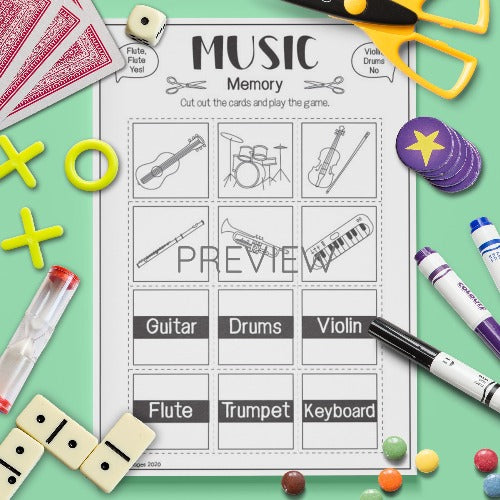 ESL English Music Memory Game Activity Worksheet