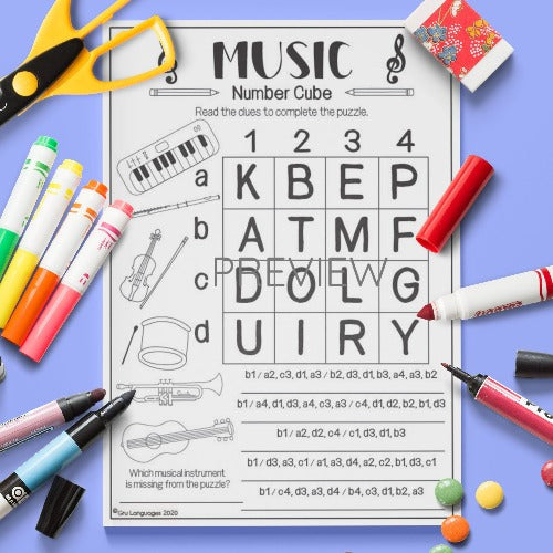 ESL English Music Number Cube Puzzle Activity Worksheet