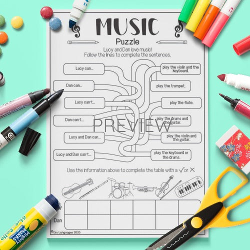 ESL English Music Puzzle Activity Worksheet