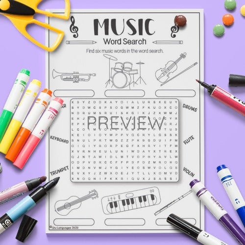 ESL English Music Word Search Activity Worksheet