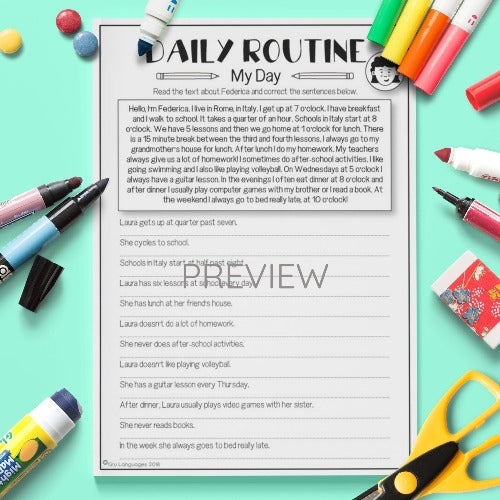 ESL English Kids Daily Routine My Day Worksheet