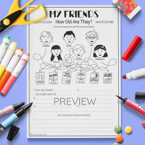 ESL English Kids Friends How Old Are They? Worksheet