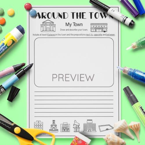ESL English Kids Around the Town My Town Activity Worksheet