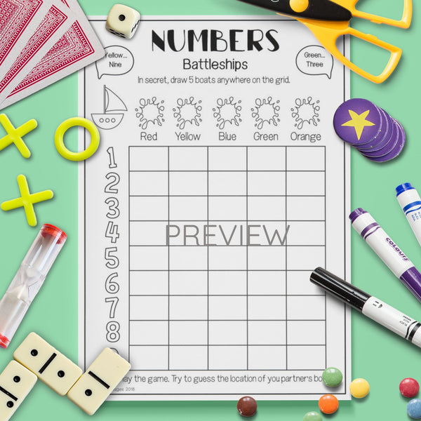 ESL English Number Battleships Game Activity Worksheet