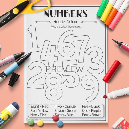 Number Colouring Activity Worksheet