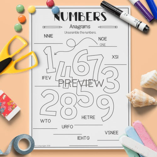 Numbers Anagram Activity Worksheet