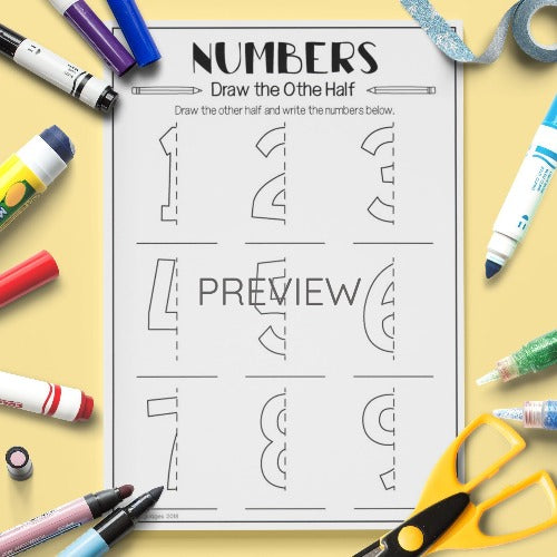 Numbers Draw The Other Half Activity Worksheet