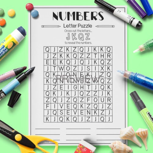 Numbers Letter Puzzle Activity Worksheet