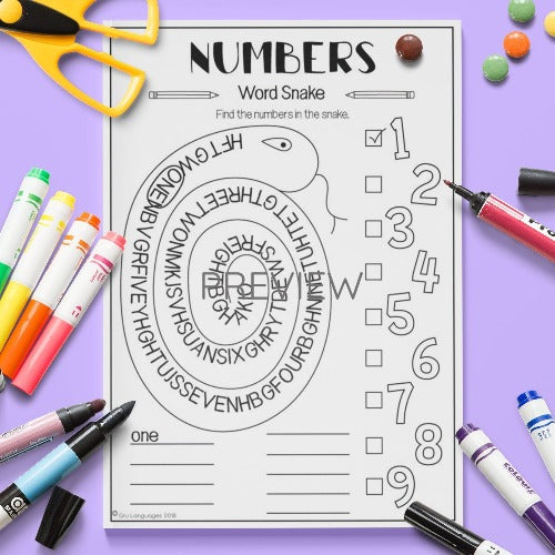 Numbers Word Snake Activity Worksheet