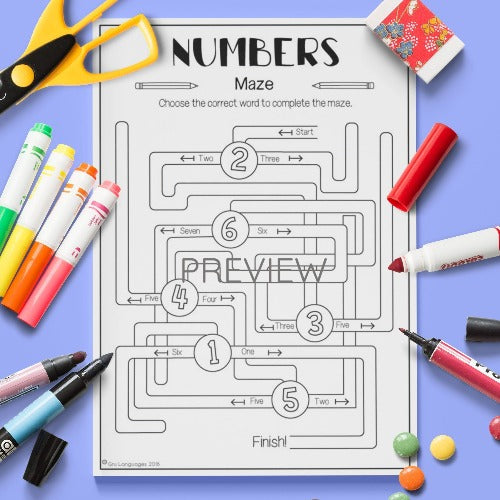 Numbers Maze Activity Worksheet