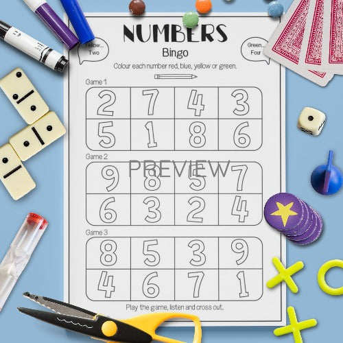 ESL English Number  Bingo Game Activity Worksheet