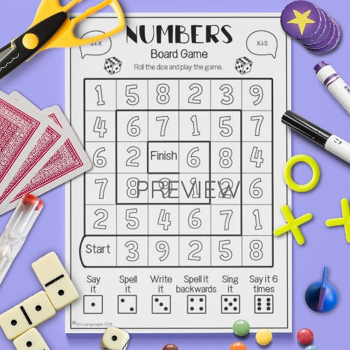 ESL English Numbers Board Game Activity Worksheet