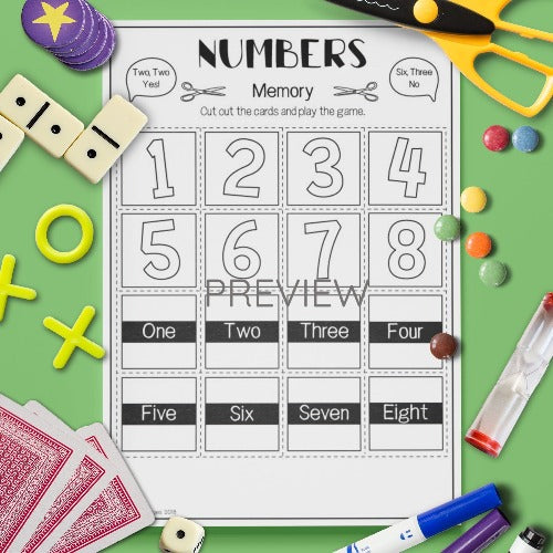 ESL English Number Memory Game Activity Worksheet