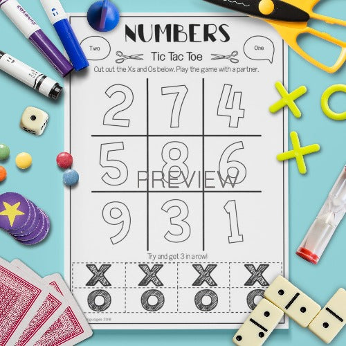 ESL English Number Tic Tac Toe Game Activity Worksheet