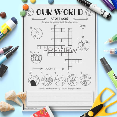 ESL English Kids Our World Crossword Worksheet