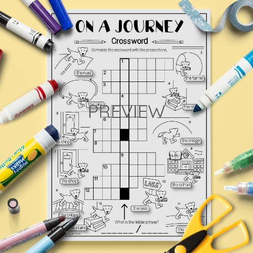ESL English Kids On A Journey Prepositions Crossword Activity Worksheet