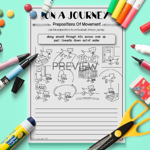 ESL English Kids On a Journey Look and Write Activity Worksheet