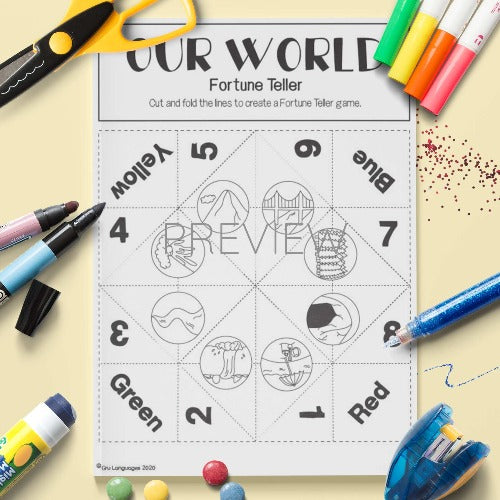 ESL English Our World Fortune Teller Craft Activity Worksheet