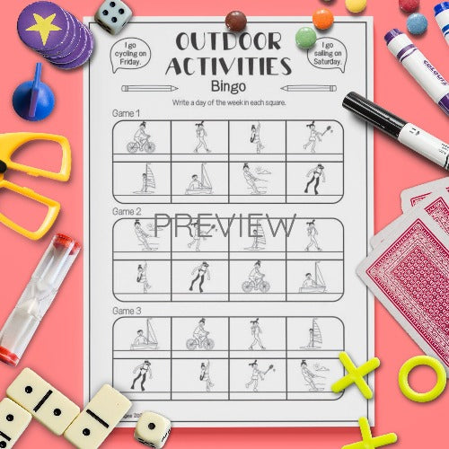 ESL English Outdoor Activities Bingo Game Worksheet