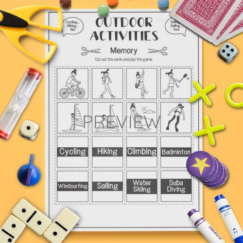 ESL English Outdoor Activities Memory Game Worksheet