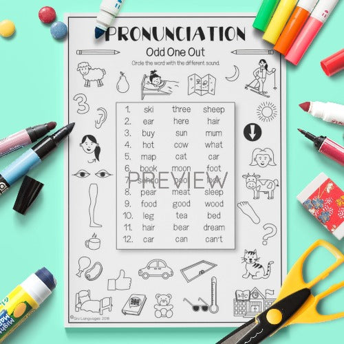 ESL English Pronunciation Odd One Out Activity Worksheet